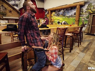 Chesty cowgirl Alexis Fawx meets an interesting original buddy