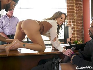 Smashing nude MILF is blacked fro a rough cuckold threesome