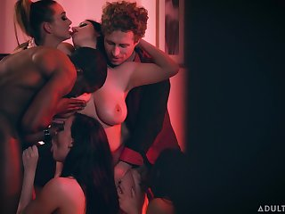 Cheating wife with huge knockers enjoying a swinger party