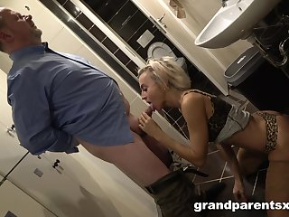 Older man and girl find worthwhile threeway delights with a young tart