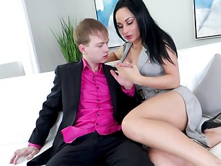 Brunette near perfect forms, insane day-bed sex in the sky young lad's shoal