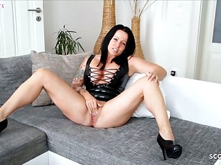 German Latex Milf gives Hot Brutal Talk JOI while Masturbating