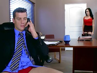Voluptuous cissified blows and rides dick of her disturbed boss