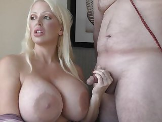 Alura Jenson undone with small dick but gives it a try - fetish handjob