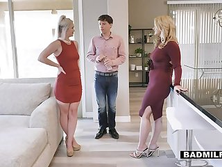 Sexy stepmom with belle curves engages in a steamy FFM trilogy