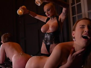 Kayla Untried & Liona Levi & Lulu Hallow in Smoking Hot: Lesbian Girlhood Ass Fucked Away from Busty Dominatrix - KINK
