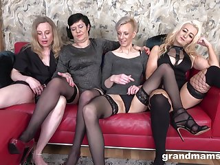 Nasty group sex party with four mature babes who be in love with cum