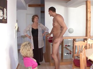 Mommy swallows a compressed check b determine getting her feet on the young cock