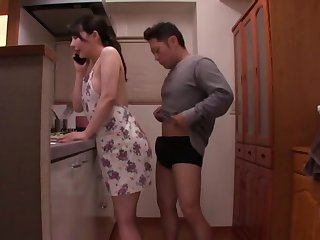 Gorgeous babe Akira Eri gets her tight cunt pounded encircling the scullery