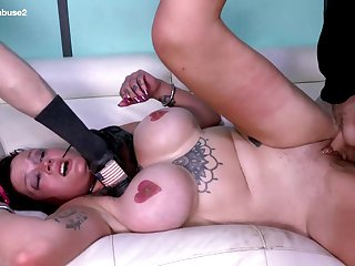 This MILF with huge titties gets throat fucked to say no to limit at Facial
