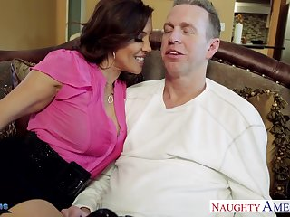 Craving for sexual connection wife Francesca Le seduces her husband Mark Wood watching his favorite sport