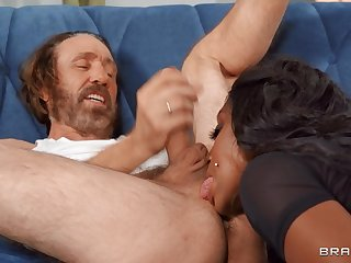 Nude well-endowed ebony MILF rams white senior cock