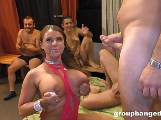 Hot MILF the center of attention during rough gangbang fuck