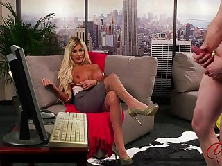 Provocative blonde MILF Charlie Monaco stripteases in the air make him cum
