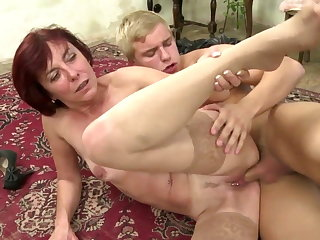 Mature mother drag inflate and mad about her young pupil boy