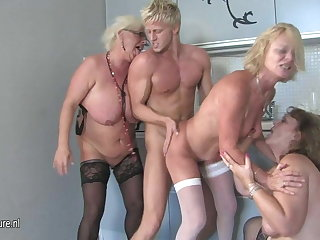 Hot group sex with aged moms together with young boy