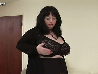 Big British mama shows off great pair increased by big ass