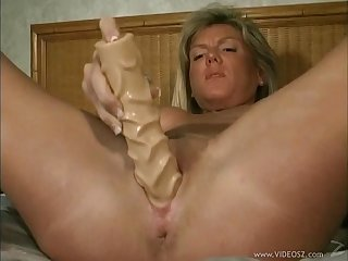 Pussy ID card with an increment of dildo banging with amateur hot milf chick