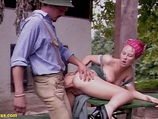 Cute fat boob german yeoman wife gets rough outdoor anal