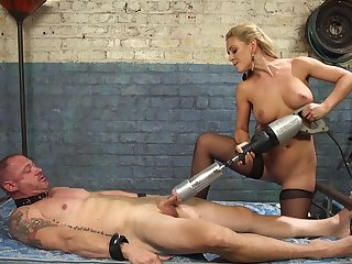 Cherie DeVille straps a dildo gag on him and uses his face fro acquire off
