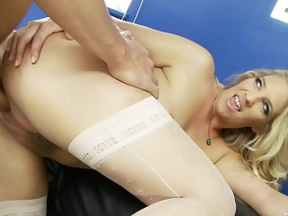 Blonde wife wants a piece of the brush boss's large dong