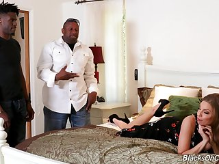 Naughty white bitch Britney Amber offers yourself to a duo of torrid black guys