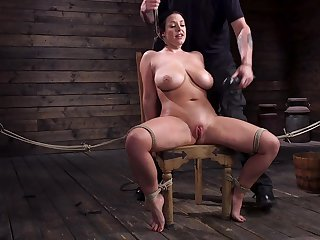 Submissive milf connected with G-cup boobs Angela White gets punished in along to basement