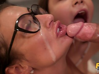 Threesome fucking with a sexy GF and her chubby best friend