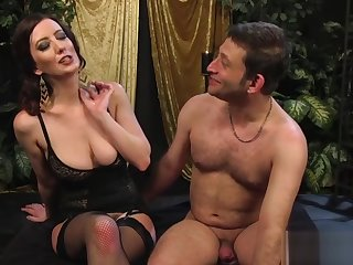 Big-breasted mistress strapon-fucks her waiting upon