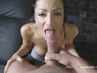 Priscilla Salerno's talented mouth factory on a cock, POV style