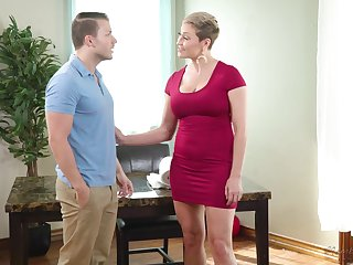 Hot take charge curvaceous MILF Ryan Keely gives a curious deepthroat blowjob