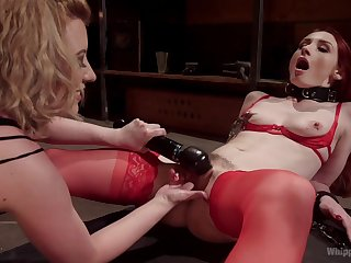 Overwhelming lesbian BDSM session for sultry Cherry Torn and Violet Monroe
