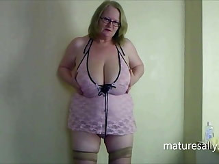 One of my early videos in pink teddy & seamed stockings