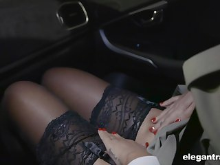 Hot Russian babe Anna Polina shows stockings upskirt to french policeman