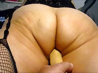 Wife working her big ass with 10 inch dildo