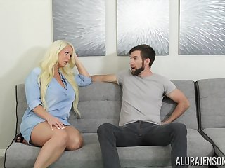 Fucking awesome housewife Alura Jenson gives a blowjob with an increment of boobjob