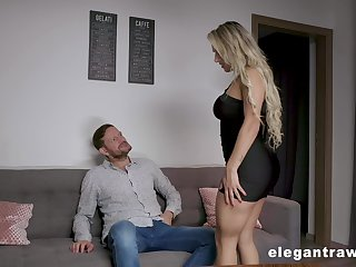 Wild and curvy blonde sexpot Mia Linz gets both holes fucked doggy hard
