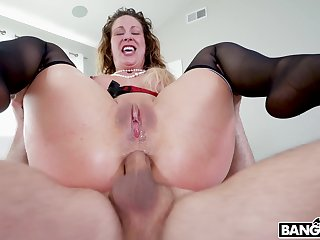 Rough pussy and botheration gender off out of one's mind two dudes makes Cherie Deville cum