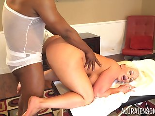 Baleful jock fucks bodacious white unspecified after a relaxing full body massage