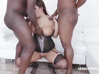 Busty Chick With Ample Assets Is Having Sex With Two Black Guys, At The Same Epoch