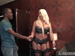 Big blanched woman bangs black guy disposed to a furious bitch