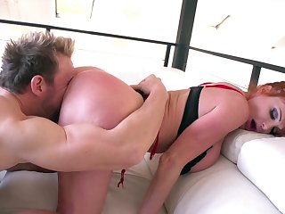 Curvy mature with huge tits, nasty couch making love and cum essentially boobs