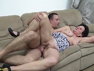 Ugly hairy 86 stage old grandma gets rough fucked by her young strong flannel boyfriend