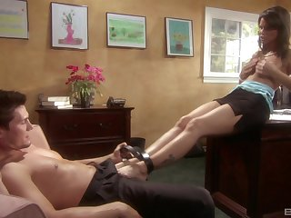 Syren De Mer gives a blowjob and gets fucked in the office