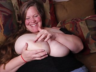 Matured chubby lady with huge boobs